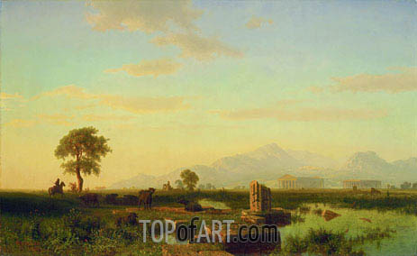 Ruins of Paestum, 1858 | Bierstadt | Painting Reproduction