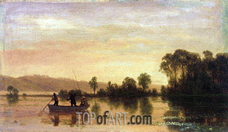River Scene, 1858 | Bierstadt | Painting Reproduction