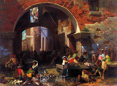 Roman Fish Market, Arch of Octavius, 1858 | Bierstadt | Painting Reproduction