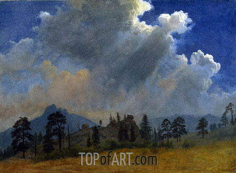Fir Trees and Storm Clouds, c.1870 | Bierstadt | Painting Reproduction