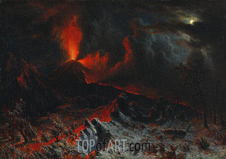 Mount Vesuvius at Midnight, 1868 | Bierstadt | Painting Reproduction