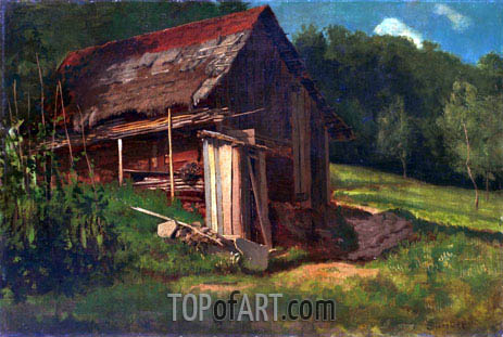 Swiss Mountain Cabin, c.1872 | Bierstadt | Painting Reproduction