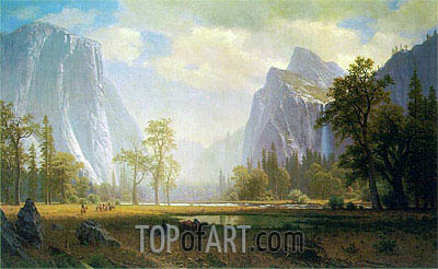 Looking Up the Yosemite Valley, c.1863/75 | Bierstadt | Painting Reproduction