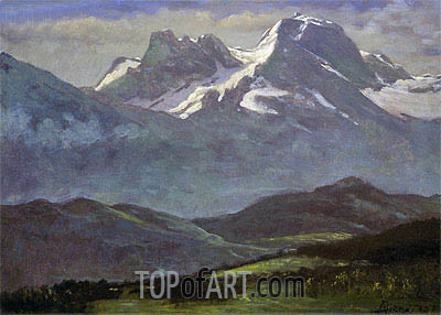 Summer Snow on the Peaks or Snow Capped Mountains, indated | Bierstadt | Painting Reproduction