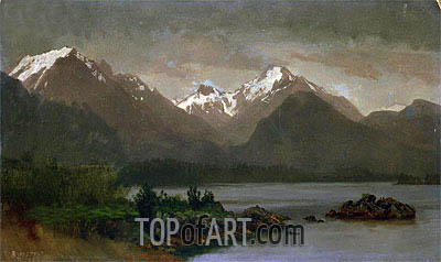 Mountains and Lake, indated | Bierstadt | Painting Reproduction