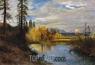 Outlet at Lake Tahoe, indated | Bierstadt | Painting Reproduction