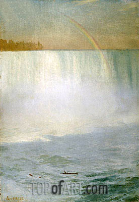 Waterfall and Rainbow, Niagara, undated | Bierstadt | Painting Reproduction