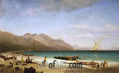 Bay of Salerno, 1858 | Bierstadt | Painting Reproduction