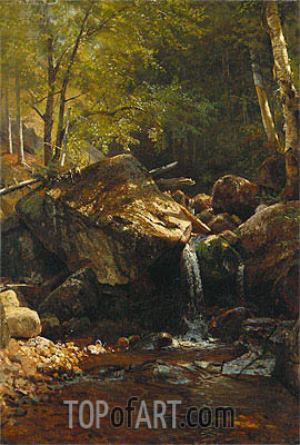 Thompson Cascade, White Mountains, undated | Bierstadt | Painting Reproduction