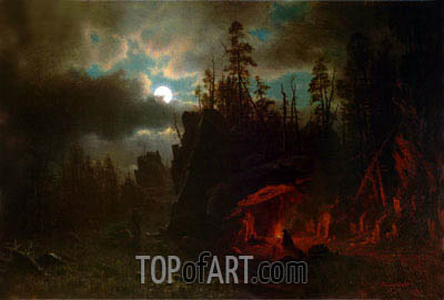 The Trappers' Camp, 1861 | Bierstadt | Painting Reproduction