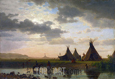 View of Chimney Rock, Ohalilah Sioux Village in the Foreground, 1860 | Bierstadt | Painting Reproduction