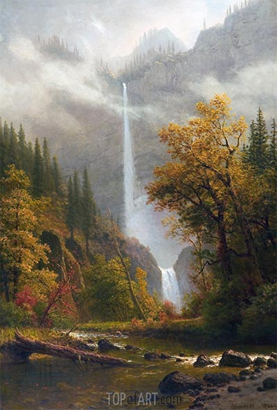 Multnomah Falls, undated | Bierstadt | Painting Reproduction
