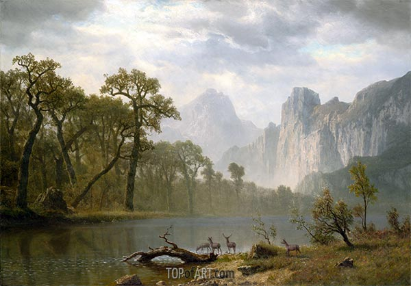 In the Yosemite Valley, 1866 | Bierstadt | Painting Reproduction