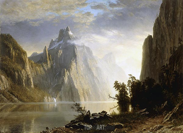 A Lake in the Sierra Nevada, 1867 | Bierstadt | Painting Reproduction
