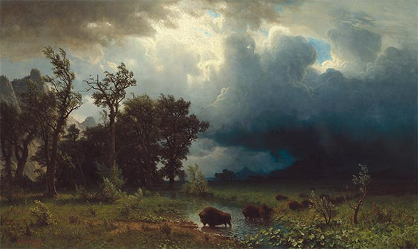 Buffalo Trail: The Impending Storm, 1869 | Bierstadt | Painting Reproduction