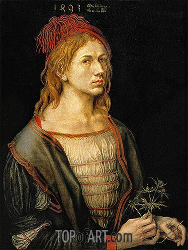 Self Portrait with a Thistle, 1493 | Durer | Painting Reproduction