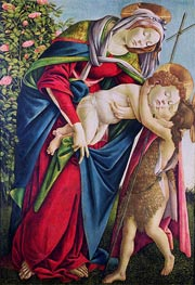 Madonna and Child with Saint John the Baptist, undated by Botticelli | Painting Reproduction