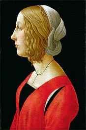 Bust of a Young Woman, c.1485/90 by Botticelli | Painting Reproduction