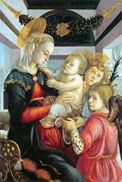 Madonna and Child with two Angels, c.1460/65 von Botticelli | Gemälde-Reproduktion