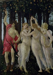 Detail of the Three Graces and Mercury, from the Primavera, c.1482 von Botticelli | Gemälde-Reproduktion