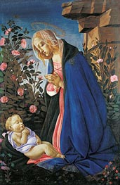 The Virgin Adoring the Sleeping Christ Child, c.1490 by Botticelli | Painting Reproduction