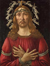 Christ as Man of Sorrows with Angels Halo, Undated by Botticelli | Painting Reproduction