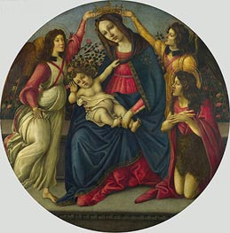 The Virgin and Child with Saint John and Two Angels, c.1490/00 by Botticelli | Painting Reproduction