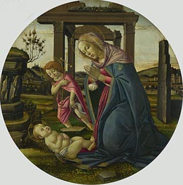 The Virgin and Child with Saint John the Baptist, c.1482/98 by Botticelli | Painting Reproduction