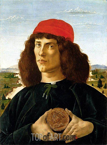 Portrait of a Young Man with a Medallion of Cosimo de' Medici, c.1470/75 | Botticelli | Painting Reproduction