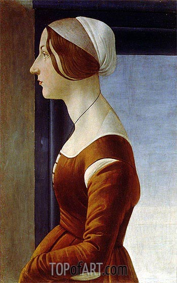 Portrait of a Woman (The Beautiful Simonetta), 1475 | Botticelli | Painting Reproduction