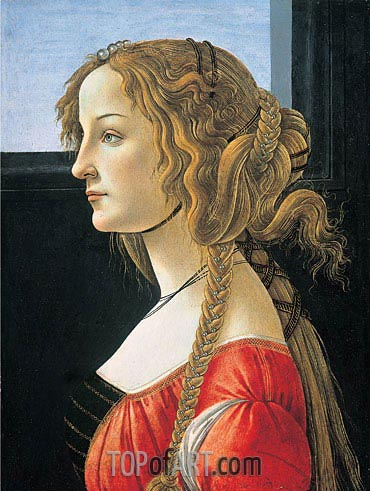 Portrait of a Young Woman, after 1480 | Botticelli | Painting Reproduction
