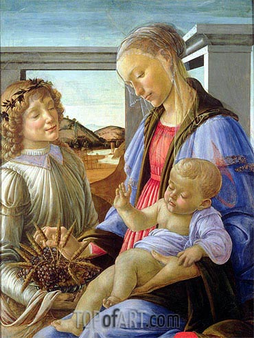 Madonna and Child with Angel, c.1472/75 | Botticelli | Painting Reproduction