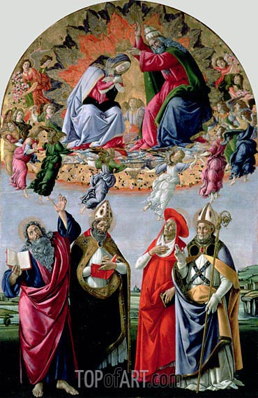 The Coronation of the Virgin (Altarpiece of St Mark), c.1480 | Botticelli | Painting Reproduction