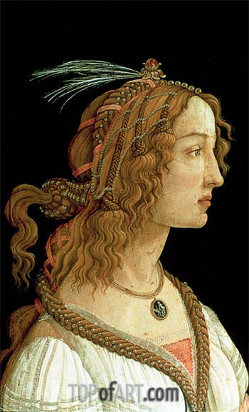 Portrait of a Young Woman, 1485 | Botticelli | Painting Reproduction