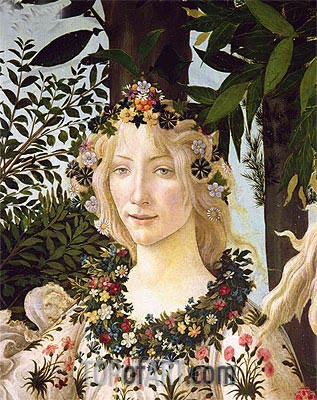 Flora (detail from the Primavera) , c.1478 | Botticelli | Painting Reproduction