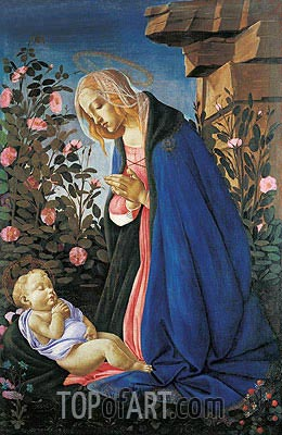 The Virgin Adoring the Sleeping Christ Child, c.1490 | Botticelli | Painting Reproduction