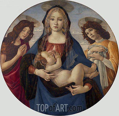 The Virgin and Child with Saint John and an Angel, c.1490 | Botticelli | Painting Reproduction