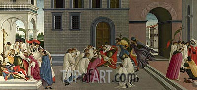 Three Miracles of Saint Zenobius  from Two Spalliera Panels, c.1500 | Botticelli | Painting Reproduction