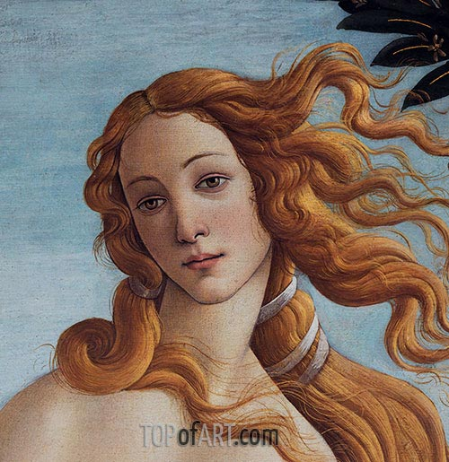 Venus Head - Detail from The Birth of Venus, c.1485 | Botticelli | Painting Reproduction