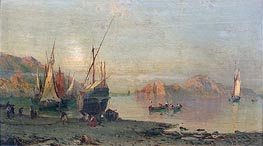 Fishing Boats on the Italian Coast, undated by Alessandro la Volpe | Painting Reproduction