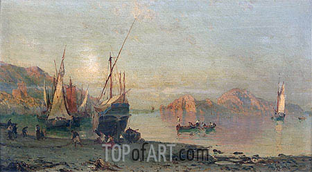 Fishing Boats on the Italian Coast, undated | Alessandro la Volpe | Painting Reproduction