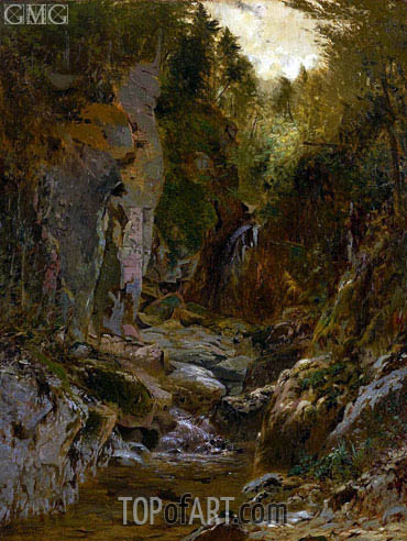 The Flume, Opalescent River, Adirondacks, 1875 | Alexander Wyant | Painting Reproduction