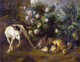 Dog Guarding Game near a Rose Bush | Alexandre-François Desportes | Painting Reproduction