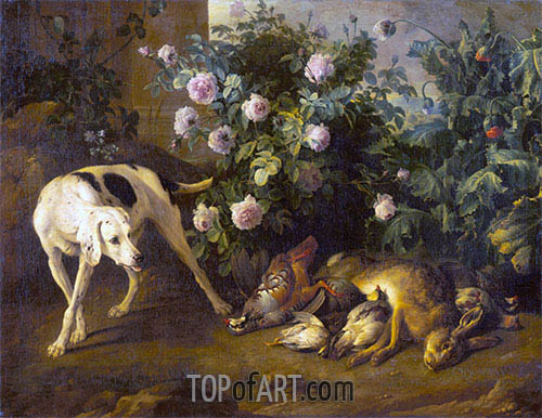 Dog Guarding Game near a Rose Bush, 1724 | Alexandre-François Desportes | Painting Reproduction