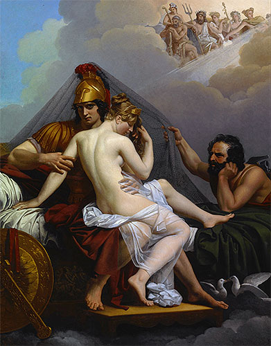 Mars and Venus Surprised by Vulcan, 1827 | Alexandre Guillemot | Painting Reproduction