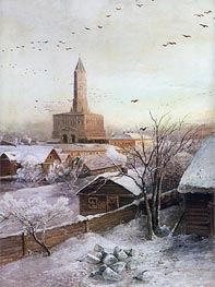 The Sukharev Tower in Moscow, 1872 by Alexey Savrasov | Painting Reproduction