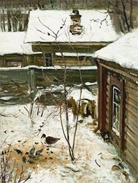 Court Yard. Winter, c.1870 by Alexey Savrasov | Painting Reproduction