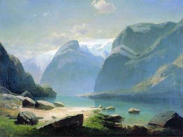 Lake in Mountains of Switzerland, 1866 by Alexey Savrasov | Painting Reproduction