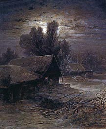 Moonlight Night in Village (Winter Night), 1869 by Alexey Savrasov | Painting Reproduction