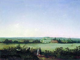 View of Vicinities of Moscow with Manor and Two Female Figures | Alexey Savrasov | Gemälde Reproduktion